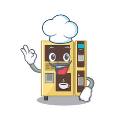 Chef coffee vending machine with cartoon shape vector