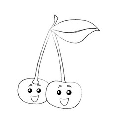 Cherry fruit kawaii character vector