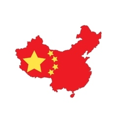 China state flag map vector image