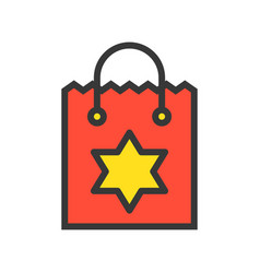 christmas shopping paper bag with star sign merry vector image