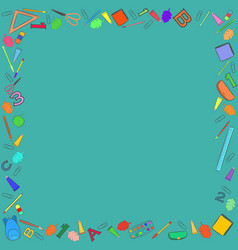 Colorful school stuff making a frame vector