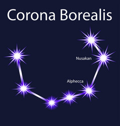 Constellation corona borealis with stars nusakan vector