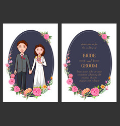 Couple on indian wedding invitation template vector