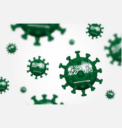 covid19-19 3d floating corona virus with saudi vector image