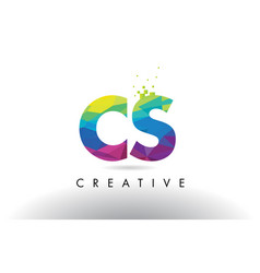 Cs c s colorful letter origami triangles design vector