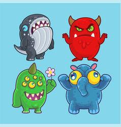 Cute monsters set for and design vector