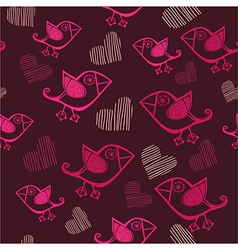 cute seamless with cartoon birds and hand-drawn vector image
