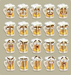 Cute series of smiles beer stickers vector
