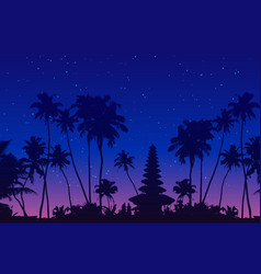 Dark palm trees and balinese temple silhouettes vector