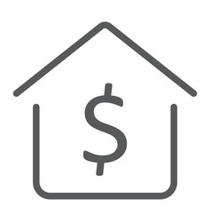dollar house line icon real estate and home vector image