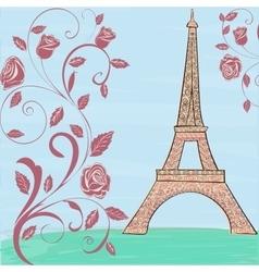 Eiffel tower vintage background vector