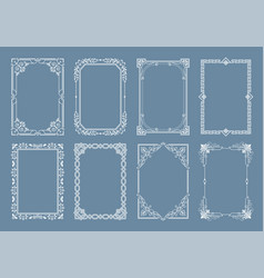 engraving baroque style vintage frames set vector image