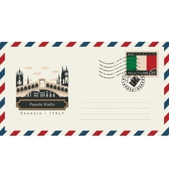 Envelope with postage stamp with Puente Rialto vector