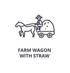 Farm wagon with straw line icon outline sign vector