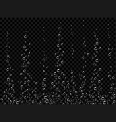 Fizzing air bubbles on black background vector