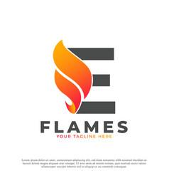 Flame with letter e logo design fire logo template vector