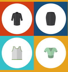Flat icon garment set of uniform stylish apparel vector