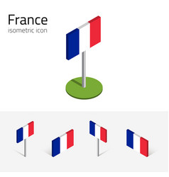 france flag set of 3d isometric icons vector image