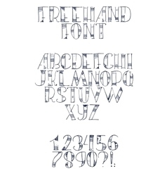 Freehand hand drawn font with english letters from vector