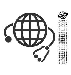 Global medicine icon with work bonus vector