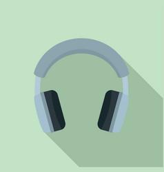 grey headphones icon flat style vector image