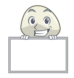 Grinning with board character cartoon homemade vector
