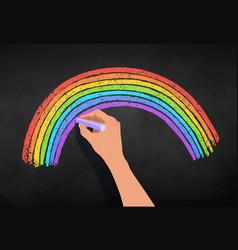 Hand drawing rainbow arc vector