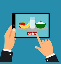 hand holding tablet order food vector image