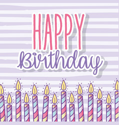Happy birthday celebration with candles decoration vector