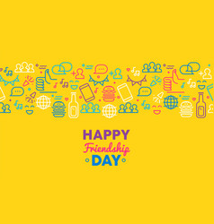 Happy friendship day greeting card with party icon vector