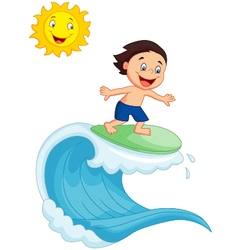 Happy little boy surfing vector image