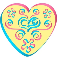Heart decorated by ribbons in pink-blue colors vector
