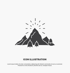 hill landscape nature mountain fireworks icon vector image