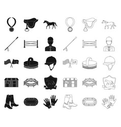 Hippodrome and horse blackoutline icons in set vector