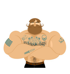 Hipster beard and tattoos mustachioed brutal man vector