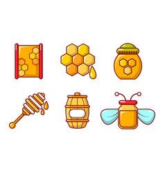 Honey icon set cartoon style vector