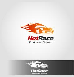 Hot race - auto fast car logo template vector