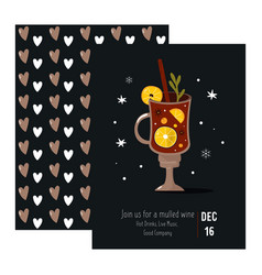 invitation card with a red wine in a glass vector image