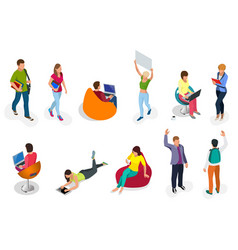 Isometric set students with gadgets and books vector