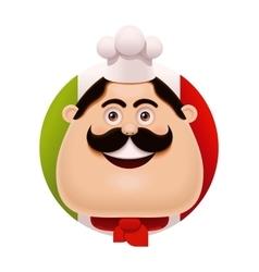 Italian chef with mustache icon vector image