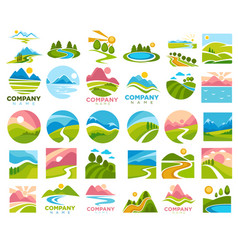 Landscapes with paths and roads in country area vector