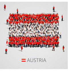Large group of people in the austria flag shape vector