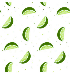 lime slices seamless pattern bright green citrus vector image