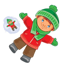 little child wallow in the snow vector image