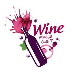 logo red wine splashed on white vector image