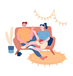 male female characters together on weekend evening vector image