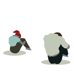 man and woman silhouette in Sitting On Ground pose vector image