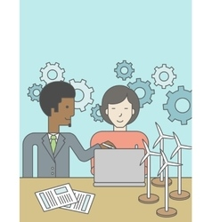 Man and woman working vector