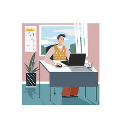 Man character sitting in office work firm laptop vector