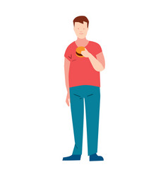 man in pants and t-shirt eating burger vector image